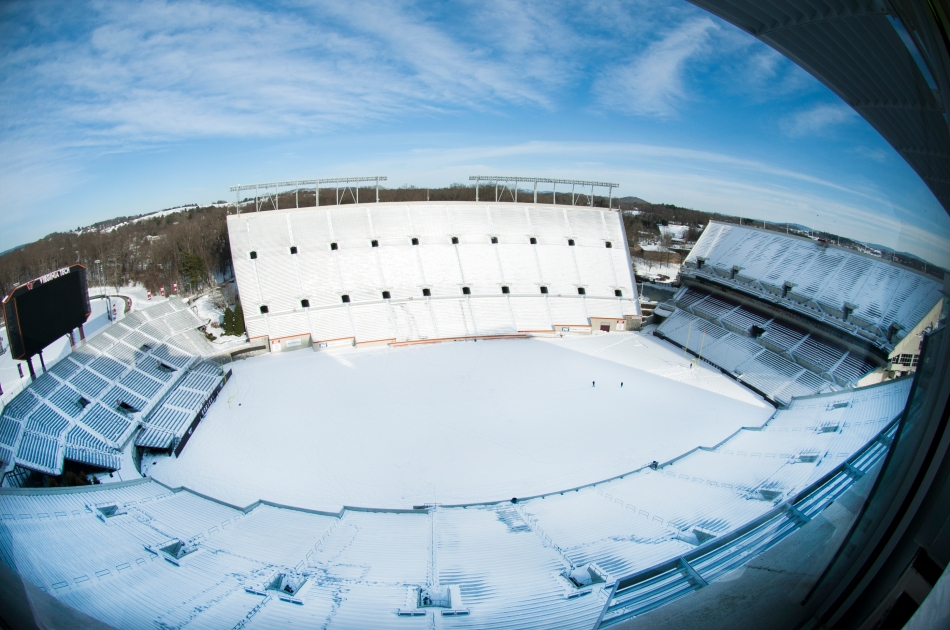 Lane Stadium in the snow
